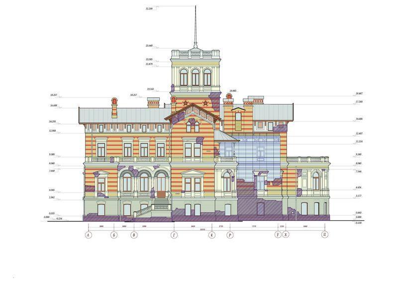 Северный фасад – главный фасад северного корпуса, выходящий на Финский залив
